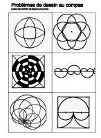 Les fiches ci-dessous sont aussi des exercices pour l'utilisation du  compas et la familiarisation du vocabulaire (rayon, diamètre, arc...)