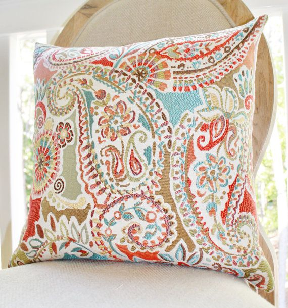 18 x 18 or 20 x 20 moroccan turquoise orange coral red aqua turquoise paisley floral decorative pillow cover