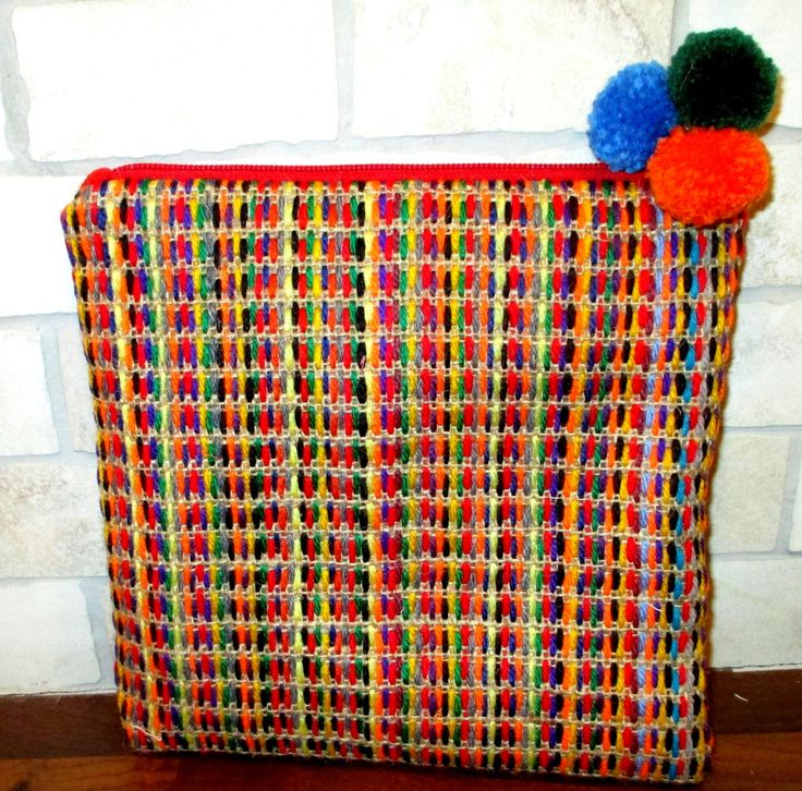 Hand embroidered jute clutch with wool yarns in multiple colorful colors , One of a kind handmade pouch, clutch,accessories, bag organizer by Apopsis on Etsy