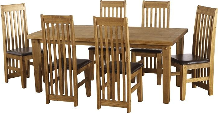 sales@spt-furniture.com Tortilla 6' Dining Set Distressed Waxed Pine/Expresso Brown PU Assembled Sizes(MM) 1820 x 910 x 775 425 x 500 x 1070  Extra Information TABLE: TOP THICKNESS 45MM LEG THICKNESS 85MM HEIGHT OF FRAME H635 CHAIR: SEAT PAD SIZE W425 D445 SEAT PAD HEIGHT H455 BACKREST HEIGHT H615