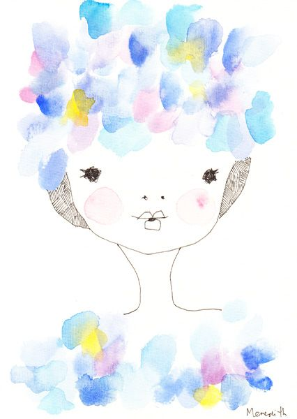 Sapphire Mae with Blossom Cap, 16x24, watercolour and ink on paper - by meredith…