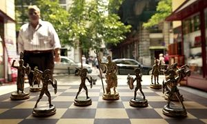 Chess pieces depicting Greek gods and Spartan soldiers in a shop in Athens.