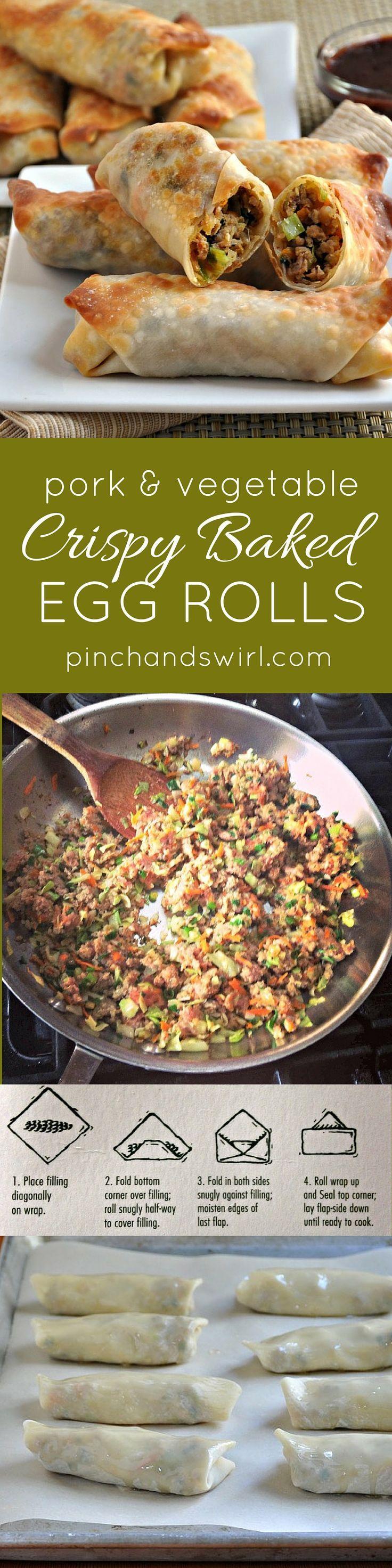 Pork and Vegetable Crispy Baked Egg Rolls - so easy to make and crispy without frying! #healthyrecipes #pork #asianfood