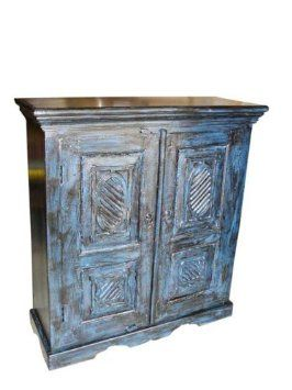 Amazon.com   Old Door Armoire Hand Carved Blue Patina Cabinet Furniture  From India