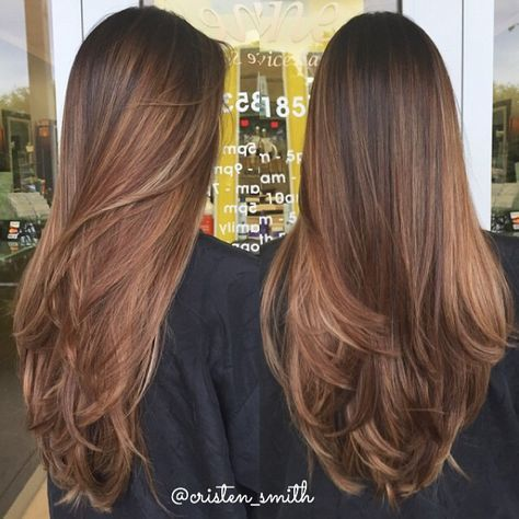 Rooty balayage ombré for my client  This was our third time lightening up and we left her base natural for minimal upkeep! #beautybycristen