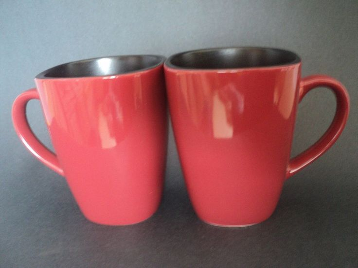 2 Corelle Hearthstone Stoneware Mugs Chili Red Black Interior Square ...