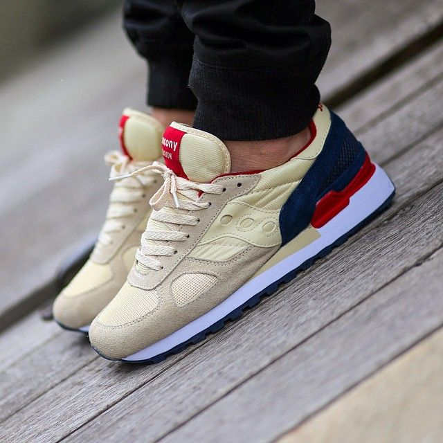 saucony shadow cream navy red