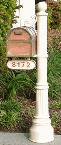 Newport-Lg Mailbox Post  Oxford Brass Mailbox with Locking Insert Option