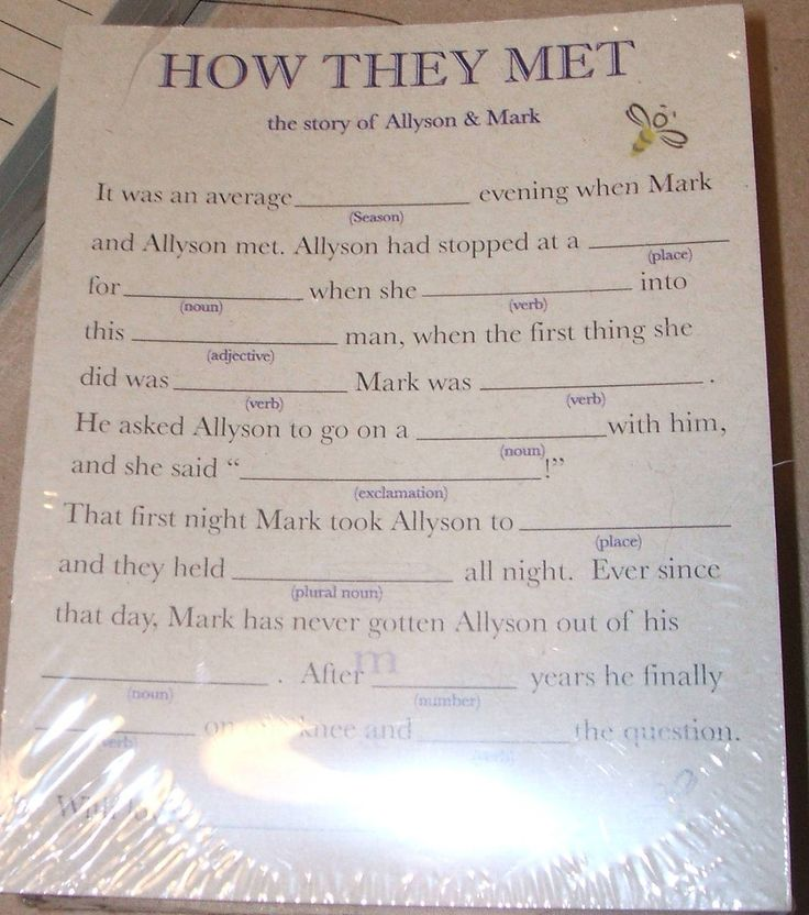50 Custom Personalized Mad LIb game cards for rehearsal dinners, receptions, showers, any event