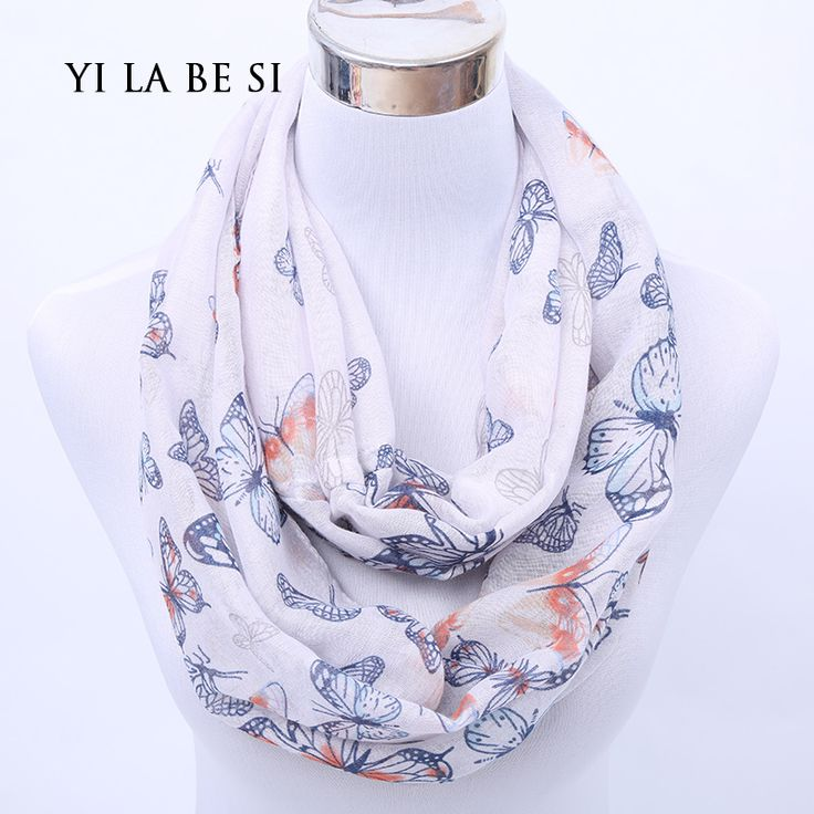 new fashion style butterfly Scarves women's Ring scarf shawl spring silk pashmina voile infinity scarf cachecol-in Scarves from Women's Clothing & Accessories on Aliexpress.com | Alibaba Group