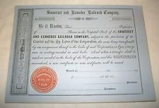 Vintage Somerset and Kennebec Railroad Company Stock Certificate 1850's