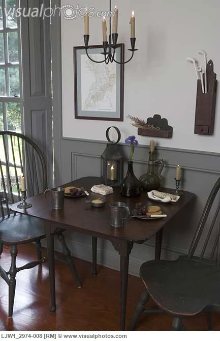 PERIOD COLONIAL STYLE. The wood wainscoting on bottom of walls, and shutters would look cool in dining room