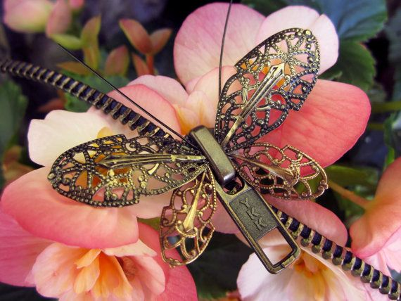 Steampunk Butterfly Zipper Necklace
