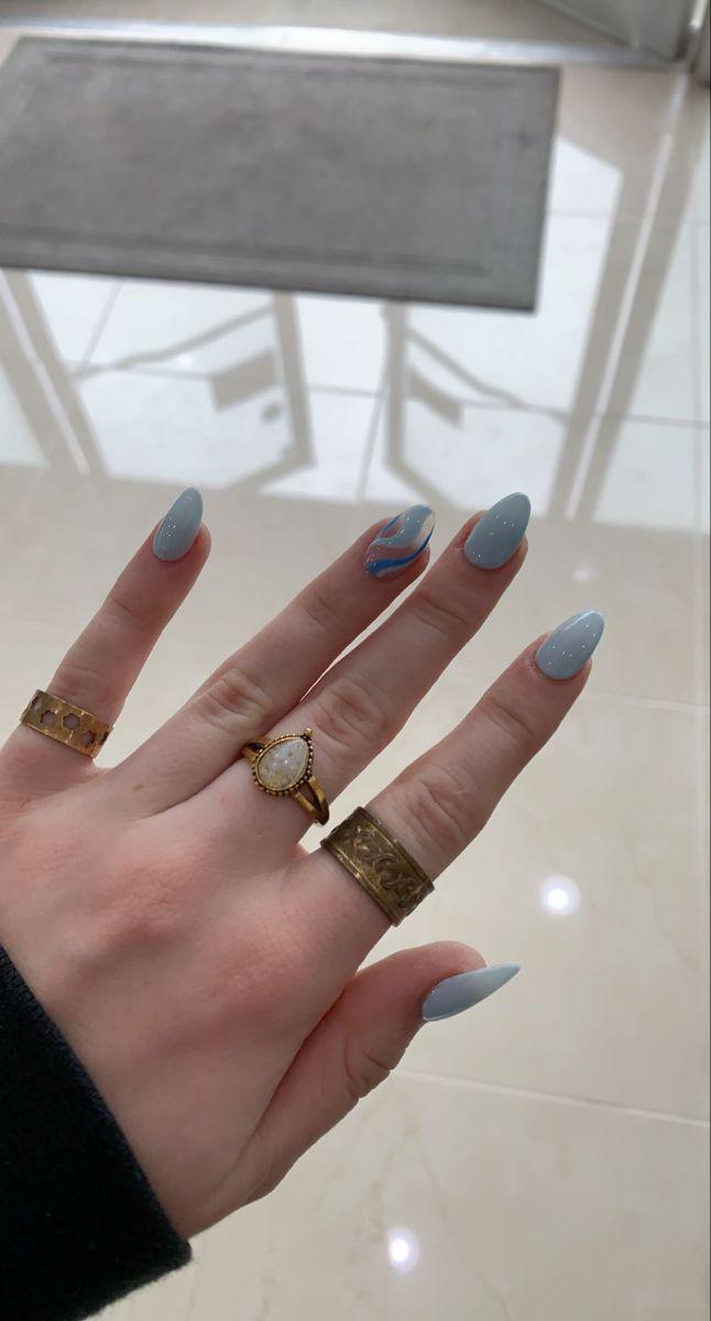 Blue Stiletto Nails, Blue Gel Nails, Matte Pink Nails, Acrylic Nails Light Blue, Classy Acrylic Nails, Almond Acrylic Nails, Light Blue Nail Designs, Classy Almond Nails, Wave Nails
