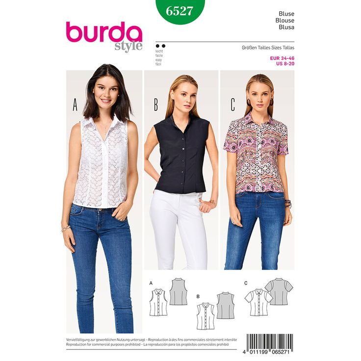 Misses Stand Collar Blouse Burda Sewing Pattern 6527. Size 8-18.