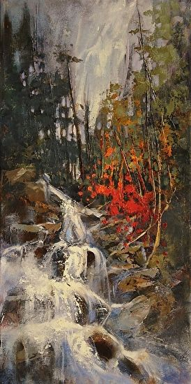 Up The Falls by Linda Wilder Acrylic ~ 20 x 10