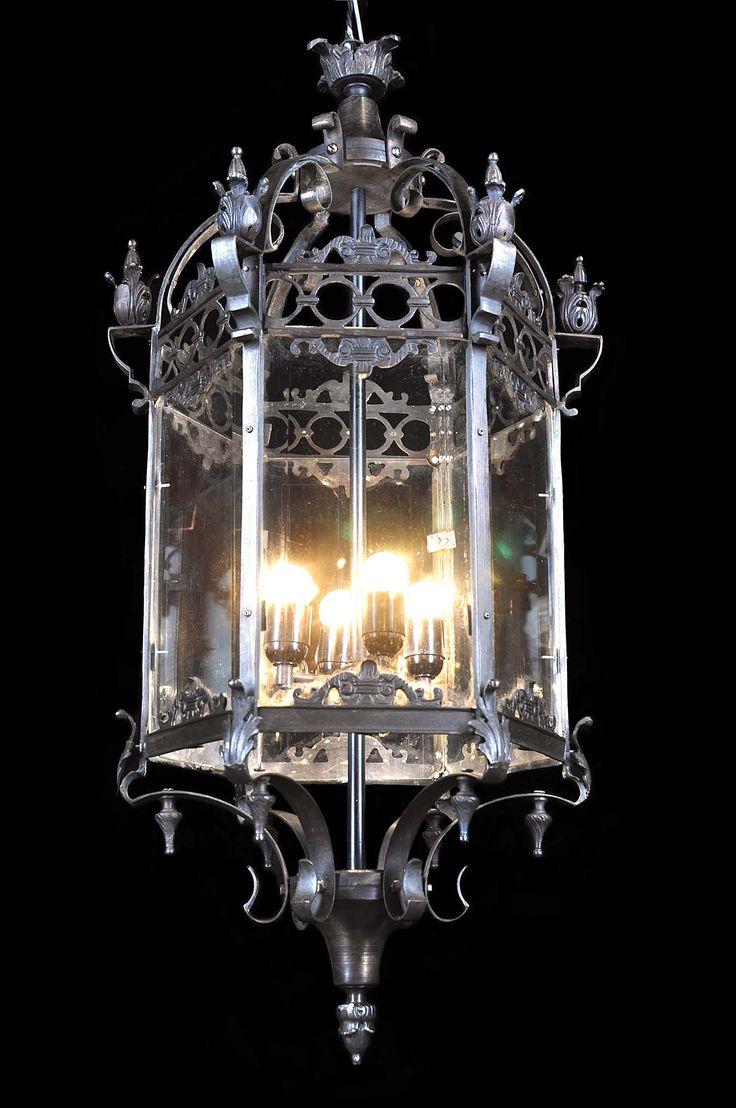 Античный большой висячий зал фонарь с лиственными флеронами