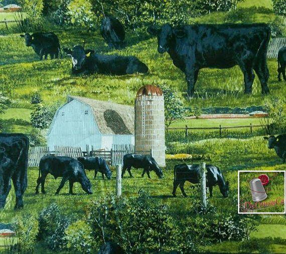 Black Angus, CP62417, Wild Wings, Spring Creative, vache, boeuf angus, du FQ au mètre, quantité multiple coupé en un morceau, 100% Coton
