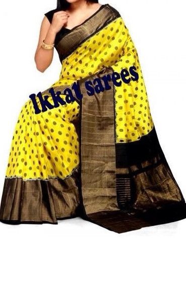 A beautiful yellow ikkat with black wide border with polka design all over Measurements:Saree : Length - 5.5mtr, Width - 45.5in, Blouse Material : Length - 30in