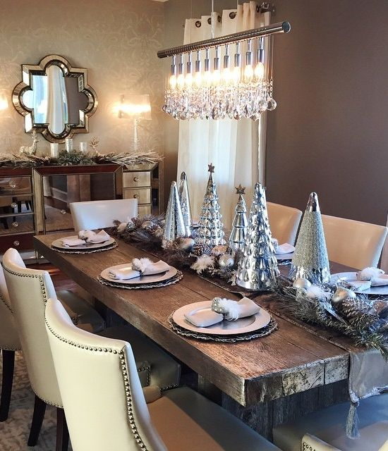 Couldn Wait To Get Her Holiday Decor Ready Features Our Linear Strand Crystal Chandelier Timber Dining Table Omni Mirrored Buffet And Velvet Runner
