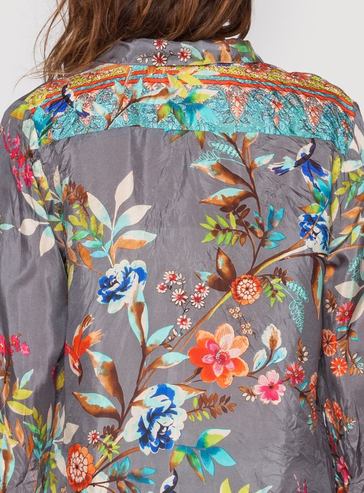 HUMMINGBIRD BLOUSE by Johnny Was / Print of whimsical multi-colored florals on grey background, accented by a Thai-inspired border