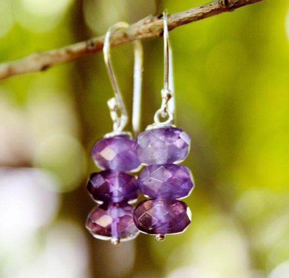 Natural Amethyst Earrings  Purple Bridal Jewelry by karioi on Etsy, $89.00 http://etsy.com/shop/karioi