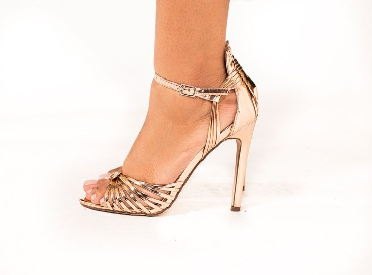 Gigi Rose-Gold Open Toe Heels