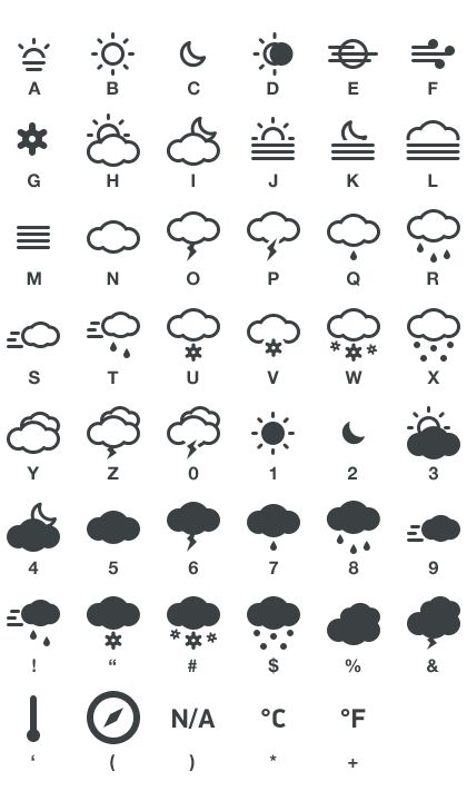 .: Meteocons is a set of #free weather #icons, it containing 40+ icons available in #PSD, #CHS, #EPS, #SVG, Desktop #font and Web #font.