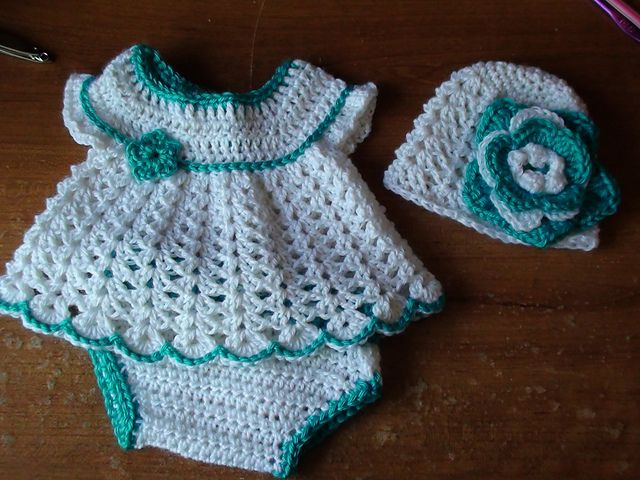 Free Crochet Patterns For Hats And Diaper Covers : Free baby dress, diaper cover hat crochet pattern ...
