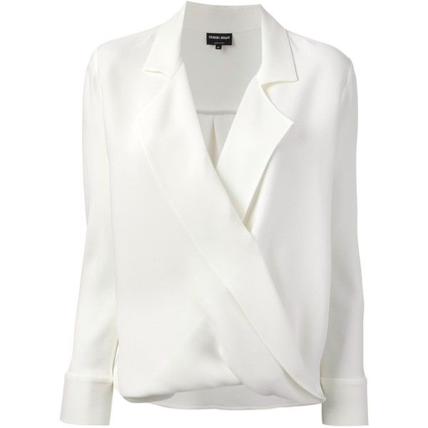 GIORGIO ARMANI wrap blouse (5.505 RON) ❤ liked on Polyvore featuring tops, blouses, shirts, blusas, long sleeve blouse, shirts & blouses, longsleeve shirt, white blouse and white long sleeve shirt