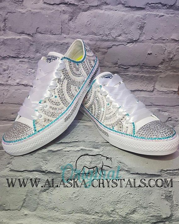b0bad16ce138dd Luxury Custom Wedding Converse Covered In Swarovski Crystals
