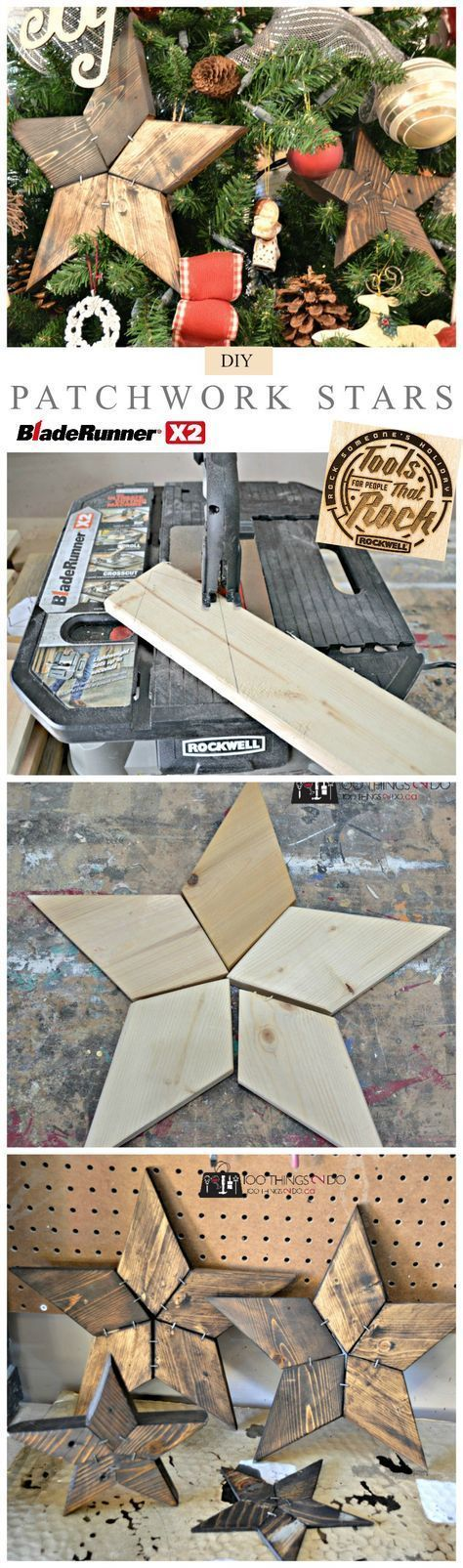 How to make DIY Patchwork Stars using scrap wood and a scroll saw. An easy to make Christmas ornament idea.