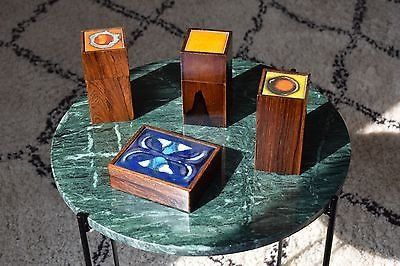 Set of Danish mid cenutry rosewood boxes, Alfred Klitgaard, enamel by Bodil Eje