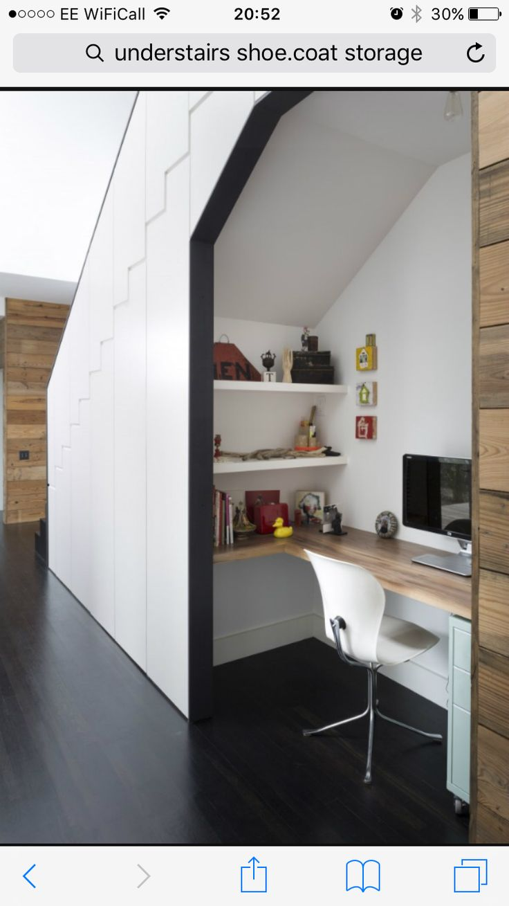 Houzz: If you don't have an entire room available for a home office,  consider the space under the stairs as a great alternative.