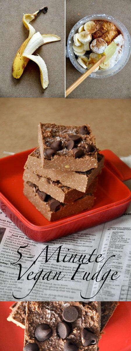 5-minute #vegan fudge (Coconut, Cocoa powder, Peanut butter, Banana) - no cooking