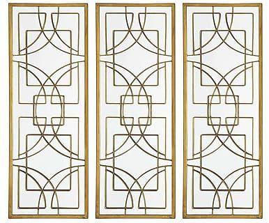 Набор из 3 зеркал - стекло - золотой, 33х91х2 см