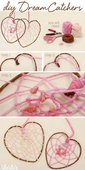 DIY Heart Dream Catcher for valentines day craft