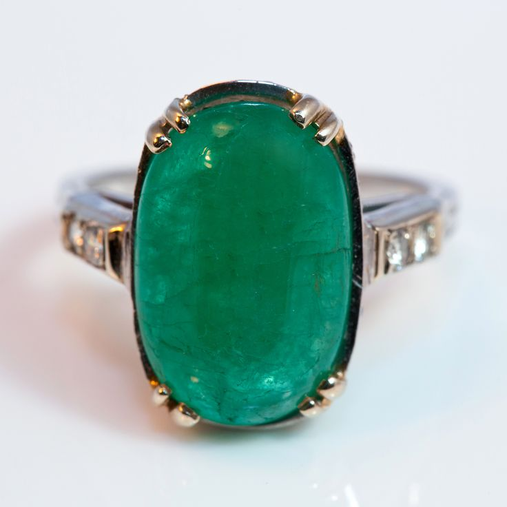 Cabochon Emerald Platinum Ring circa 1930 | Keil's Antiques | New Orleans | Since 1899