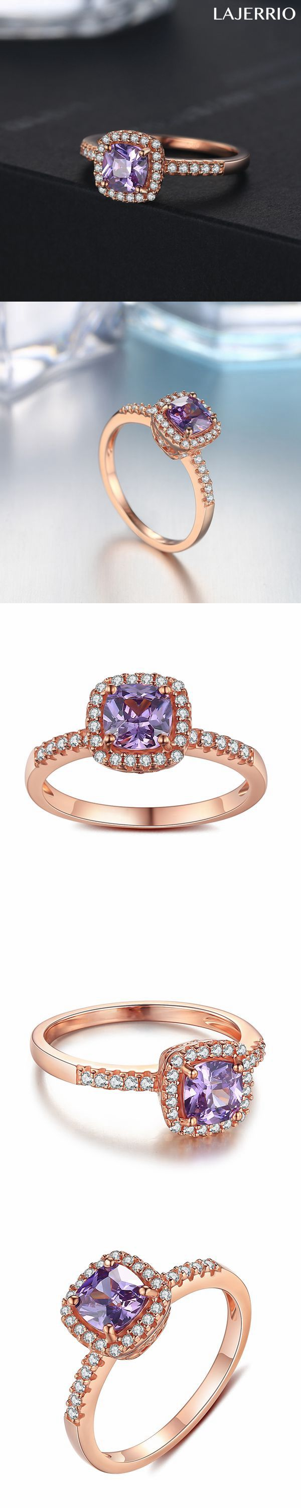Lajerrio Jewelry Rose Gold S925 Asscher Cut Amethyst Engagement Ring