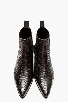Saint Laurent Black Python Chelsea Boots