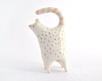 Ceramic Cat Miniature in White Clay and Decorated with Pigments in Pink and Black. Made To Order