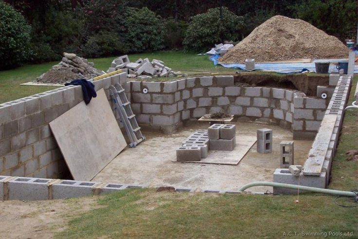 block swimming pools | Deluxe concrete swimming pool floor being poured with ready mix ...