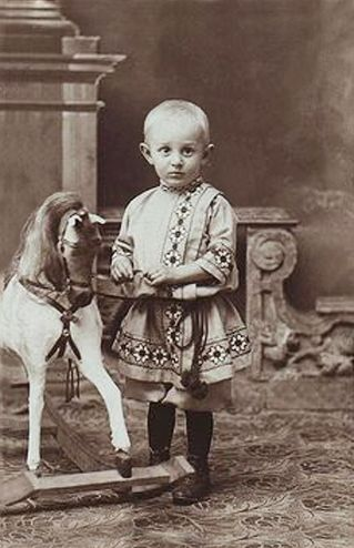 +~+~ Antique Photograph ~+~+  Boy and Rocking Horse