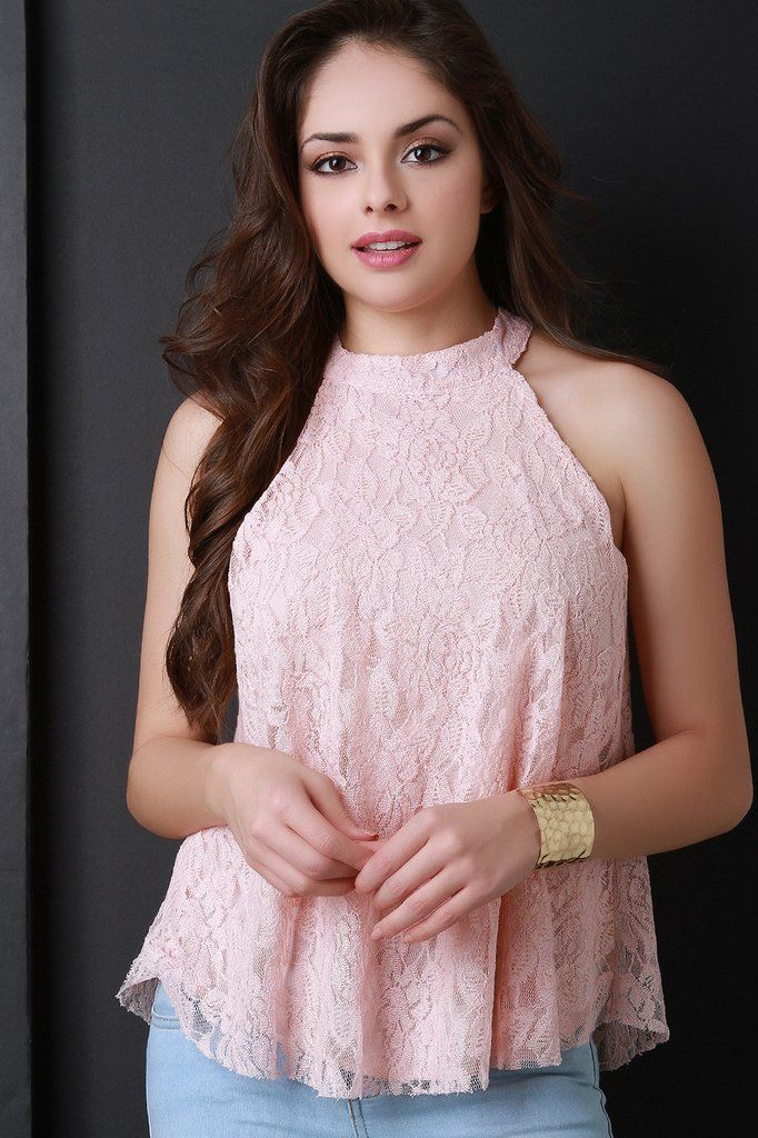 Blush Sleeveless Floral Lace Top