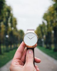 MR101 - brown leather strap accentuates the beauty og rose gold ladies watch.
