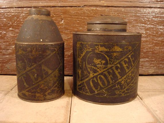 Hey, I found this really awesome Etsy listing at https://www.etsy.com/listing/243821989/rustic-coffee-and-tea-tins-with-lids-old