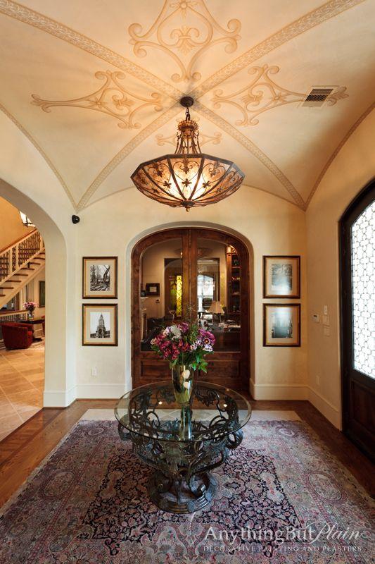 Foyer Plaster Ceiling : Hand painted groin ceiling and diamond plaster walls art