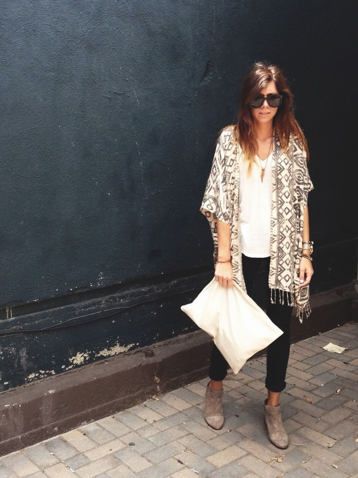 fringed cardigan + white t-shirt + rolled black jeans + booties- so cute!!