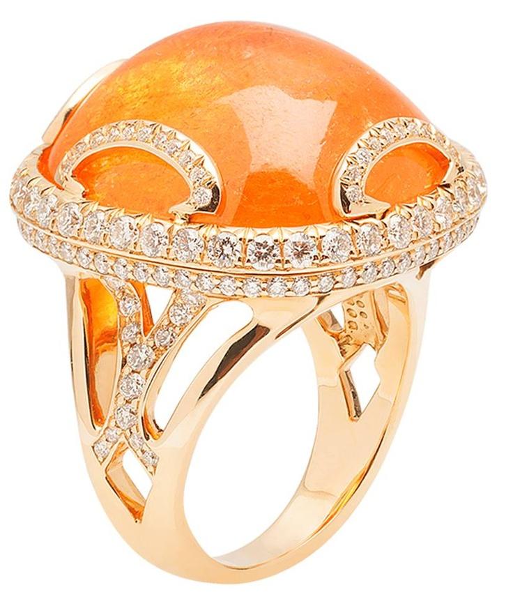 G-One Mandarin Garnet Ring with Diamonds