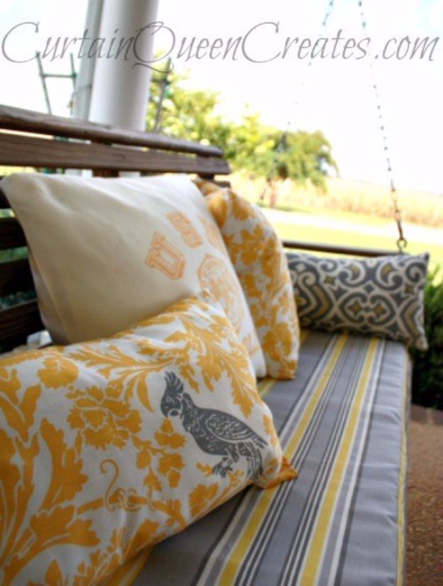 Sewing Projects for The Patio - 3-Step DIY Bench or Swing Cushion - Step by Step Instructions and Free Patterns for Cushions, Pillows, Seating, Sofa and Outdoor Patio Decor - Easy Sewing Tutorials for Beginners - Creative and Cheap Outdoor Ideas for Those Who Love to Sew - DIY Projects and Crafts by DIY JOY http://diyjoy.com/sewing-projects-patio